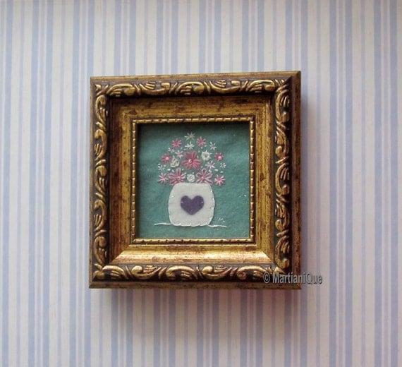 Hand Embroidered Floral Art with Frame
