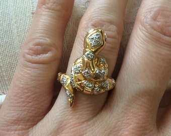 SALE Ambers Vintage Sterling Vermeil Snake Ring With Stones Diamonds Gorgeous Detailed