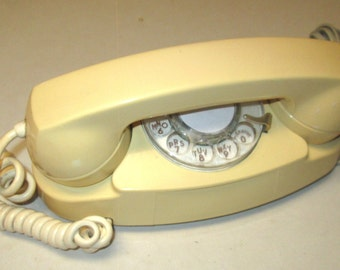 Western Electric White Princess Model 702B Rotary Desktop Telephone Dated January 1962 retro style