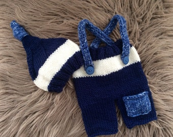 Newborn Boy  Photo Prop,Baby Boy hand knitted Hat, Shorts with Suspenders,Hand knitted Shorts,Hat,Shorts,