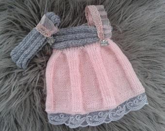 Newborn Girl  Photo Prop set,Baby girl Swing dress  and Headband,Baby girl knit swing dress and headband.