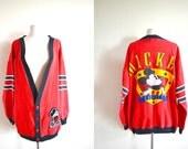 RARE Vintage Mickey & Co  by JG Hook Oversized Sweater, Mickey Mouse Cardigan, Varsity Sweatshirt