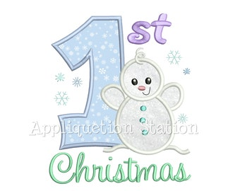 First Christmas Baby Snowman Applique Machine Embroidery Design Boy Girl My 1st Christmas Holiday INSTANT DOWNLOAD