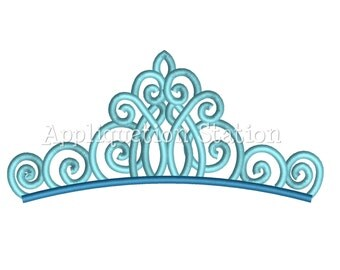 Fancy Tiara Crown Machine Embroidery Design Aqua Birthday Princess INSTANT DOWNLOAD