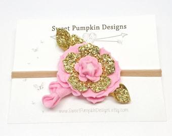 Gold Flower Headband. Baby Headband. Felt Flower Cluster. Flower Crown. Pink & Gold Headband. Wool Felt Flower. M2M Well Dressed Wolf HB1320