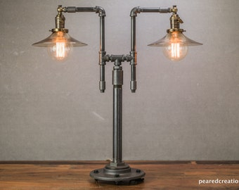 Industrial Table Lamp - Industrial Furniture - Iron Piping - Smoked Glass Shade