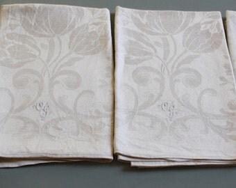 beautiful set of 4 vintage damask linen towels , pure linen damask , OG monogrammed , as UNUSED