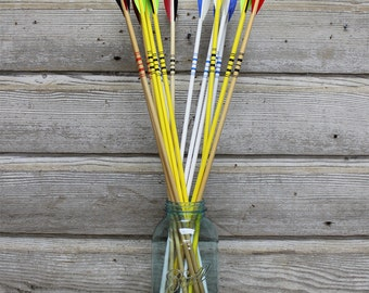 Vintage Multicolor Wood Arrows, Set of 5