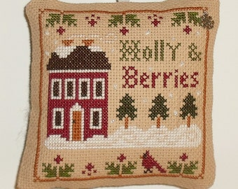 Completed Cross Stitch Holly Berries Little House Needleworks Holiday Decorative Hanging Pillow