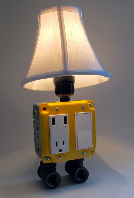 Yellow Industrial Lamp Usb Charging Station Lighting By