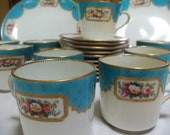 Reserved for Julianne/Antique Assembled Tea Set/Circa 1800s/10 Minton Style Cups/2 Dessert Plates/Enamel Beadwork/Turquoise Border