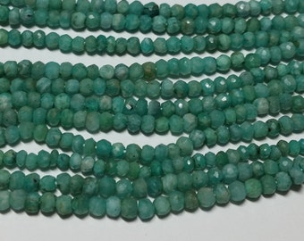 Green Aventurine Hand Faceted Rondelle Beads 3mm - 4mm