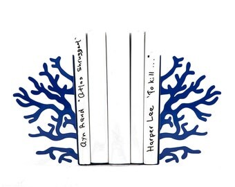Decorative Metal Bookends - Corals Dark Blue edition - functional decor for a modern home // nursery decor // FREE WORLDWIDE SHIPPING //