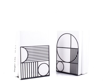 Metal Bookends Bauhaus // Patterns // functional decor for modern home // unique book holders // FREE SHIPPING worldwide /