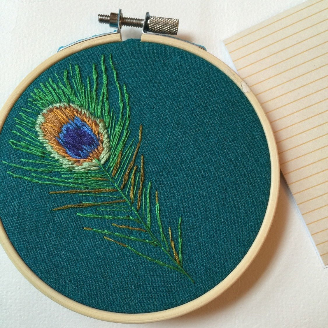 Peacock feather embroidery hoop art turquoise wall