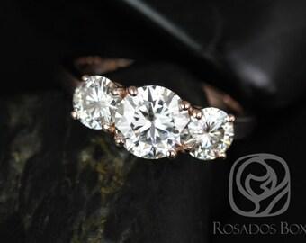 Rosados Box Robyn 7mm 14kt Rose Gold Round F1- Moissanites 3 Stone Engagement Ring