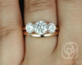 Rosados Box Robyn 7mm 14kt Rose Gold Round F1- Moissanite 3 Stone Wedding Set