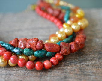Chunky choker necklace Pearl and semi precious stone nugget necklace Turquoise nugget, coral nugget and pearl torsade Multistrand necklace