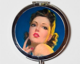 Glamorous Pinup Compact Mirror - Retro 1950's Pin Up Girl - Make Up Pocket Mirror for Cosmetics
