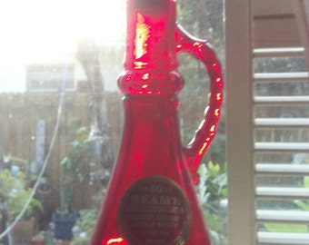 Vintage RARE Ruby Red 1980 Genie / Djinn Bottle I Dream of Jeannie Jim Beam Whisky Glass Bottle Decanter