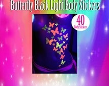 Black light Glow Butterfly and Daisy Body Stickers - Rave Costume-Neon, Butterfly tattoo, reusable sticker, body decor, glow body stickers