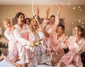 BRIDESMAID ROBE - Blush Satin Robes - Blush Silk Robes - Personalized Robes - Monogrammed Robes - Bridal Robes - Maid of Honor Robe - Kimono