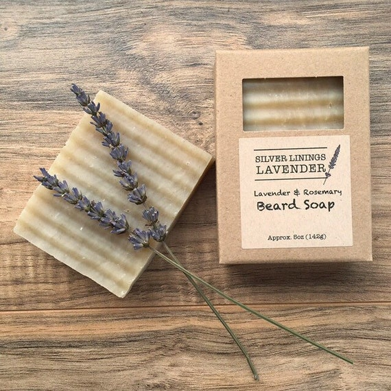 All Natural Lavender Rosemary Beard Soap / Soap for Men / Bar Soap for Beards / Shampoo for Men / Soap for Beards / Lavender Soap for Men