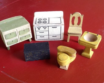 Strombecker Dollhouse Furniture,  Chunky Wood Miniatures, Small Kitchen Bathroom, Vintage Collectible Toys, Pretend Play