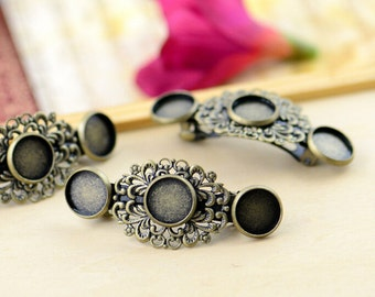 10pcs Hair Barrette With 12mm Cameo Base