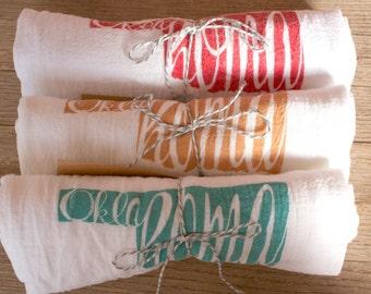 Oklahoma Cotton Tea Towels - State Pride Flour Sack Towels