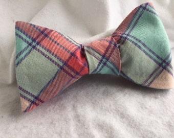 Men's Pink/Aqua Plaid Adjustable Bow Tie (Self Tie)