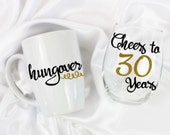 Unique birthday gift - Cheers to 30 years - 30th birthday - 30th birthday for her -  30th birthday gift for her - Hungover mug - set of 2