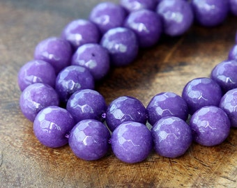 Faceted Jade Beads, Purple, 10mm Round - 15 inch strand - eJFR-M11-10