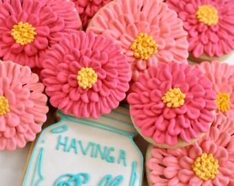 Mason Jar and/or Zinnia cookies-12 Pieces