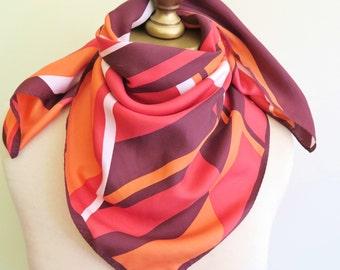 Mod silk scarf, 1960s silk scarf, bright square scarf, vintage scarves, bold vintage scarf, square silk scarf, 60s fashion, 1970s accessory