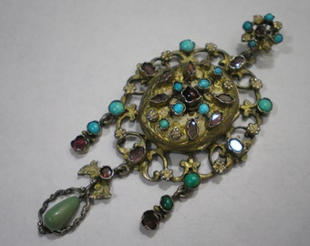 Antique Silver Gilt Austro Hungarian Pendant Locket Turquoise Amethyst Garnet