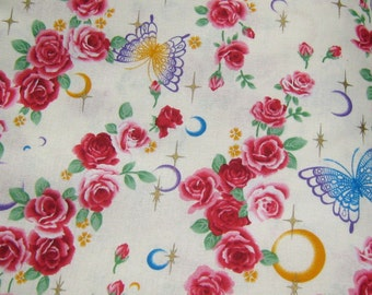 Off White Roses and Butterflies Japanese Cotton Fabric, Flower Fabric, cream Cotton Fabric, Butterfly Fabric, Vintage style Cotton Fabric