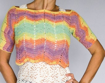 Cropped Crochet Top, Rainbow Blouse, Pastel Short Shirt