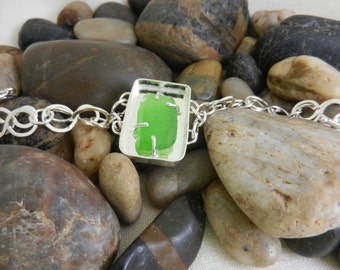 Beach glass, prong setting, sterling silver bracelet