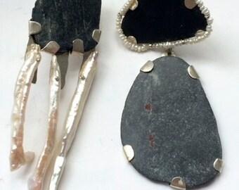 Silver Asymmetrical Pearl earrings