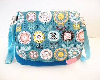 crossbody bag duck blue scandinavian flowers , shoulder bag faux leather with fabric flap , crossbody purse  faux leather and fabric