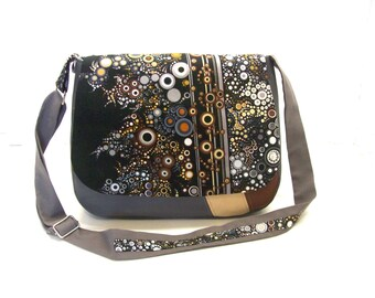 bag messenger grey and brown in faux leather bubbles fabric flap crossbody bag effervescence flap