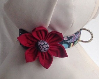 Dog Collar Flower Set - Colorful Paisley  - Size XS, S, M, L, XL