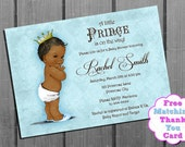African American Boy Baby Shower Invitation - FREE Thank You Card Printable - Vintage Blue Royal Baby Boy Shower - Royal Baby Shower
