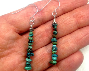 GENUINE TURQUOISE Dangle Drop Earrings FREE with bracelet purchase, Rustic, Native American Inspired, Naturally Rustic Woodsy Christmas Gift