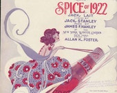 """vintage sheet music from the """"Spice of 1922"""" 2 Wooden Shoes, lady on bottle rocket"""