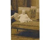 antique photo, vintage postcard, Victorian baby, baby portrait, baby rppc