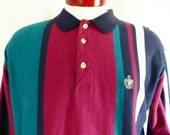 vintage 80 90's King's Court color block burgundy red teal green black heather grey vertical stripe jesrey knit long sleeve polo shirt large