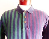 vintage 90's Levi's Dockers navy blue colorblock vertical stripe burgundy wine red dark hunter green pique knit long sleeve polo shirt large