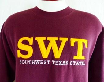 go SWT Bobcats vintage 80's 90's Southwest Texas Sate University maroon red fleece graphic sweatshirt embroidered applique felt pullover lrg